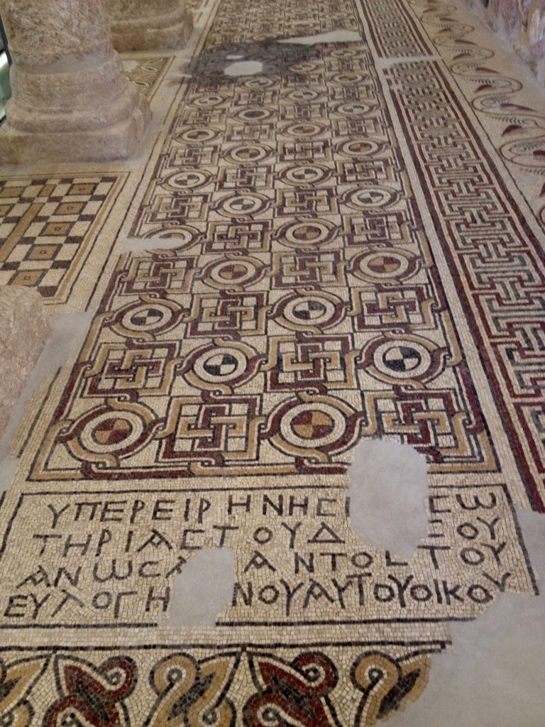 Ancient mosaics in the renovated church atop Mt Nebo