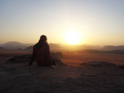 Watching the Sunset in Wadi Rum